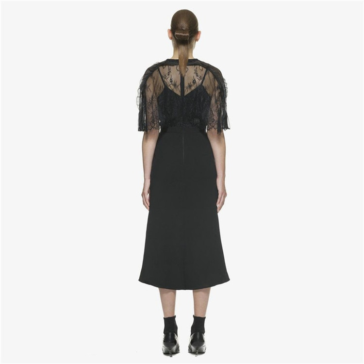 Self Portrait Runway Women Party Dress 18 Autumn Black Lace Patchwork Hollow Out Half Sleeve Bodycon Sexy V Neck Ladies Dress 3
