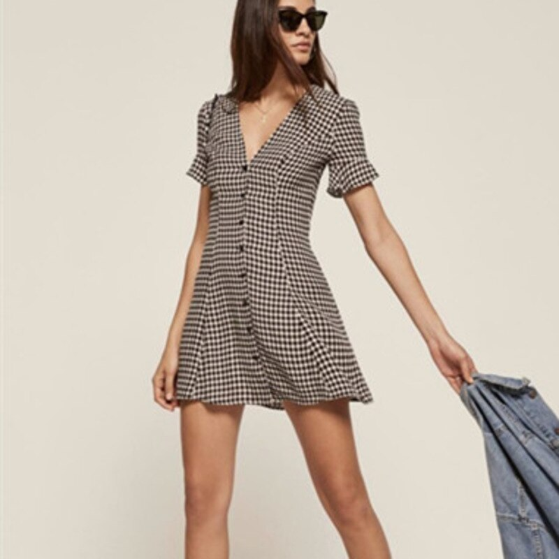 DEAT 19 new summer women clothes fashion V-neck half sleeves spring plaided dress sexy female vacation vestido WE19101M