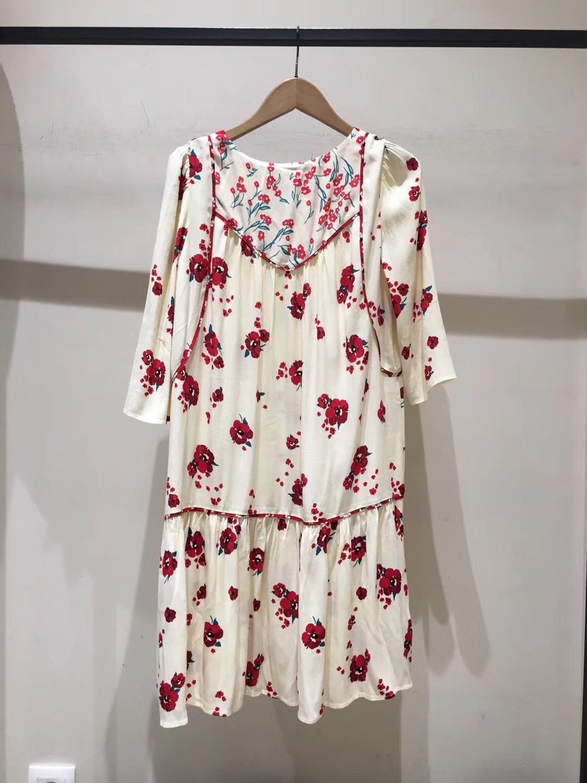 Women Half Sleeve Loose Mini Dress Red Flower Print V Neck High Waist Summer Dress 1