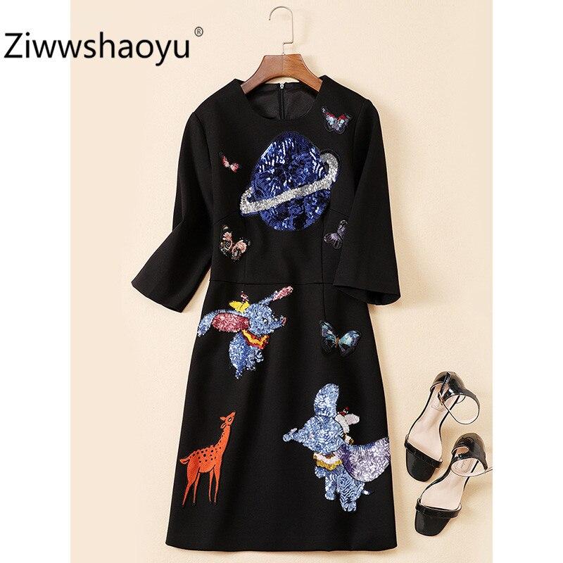 Ziwwshaoyu Women's Autumn Winter Vintage Black Dress Fashion Cartoon Sequin Embroidery Half Sleeve Dresses 2