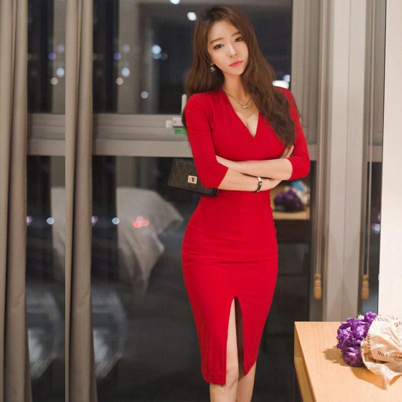 Midi Women Dress Bandage Office Party Sexy Bodycon Black Red Vintage Dress Vestidos Plus Size Half sleeve V-Neck Dresses 1