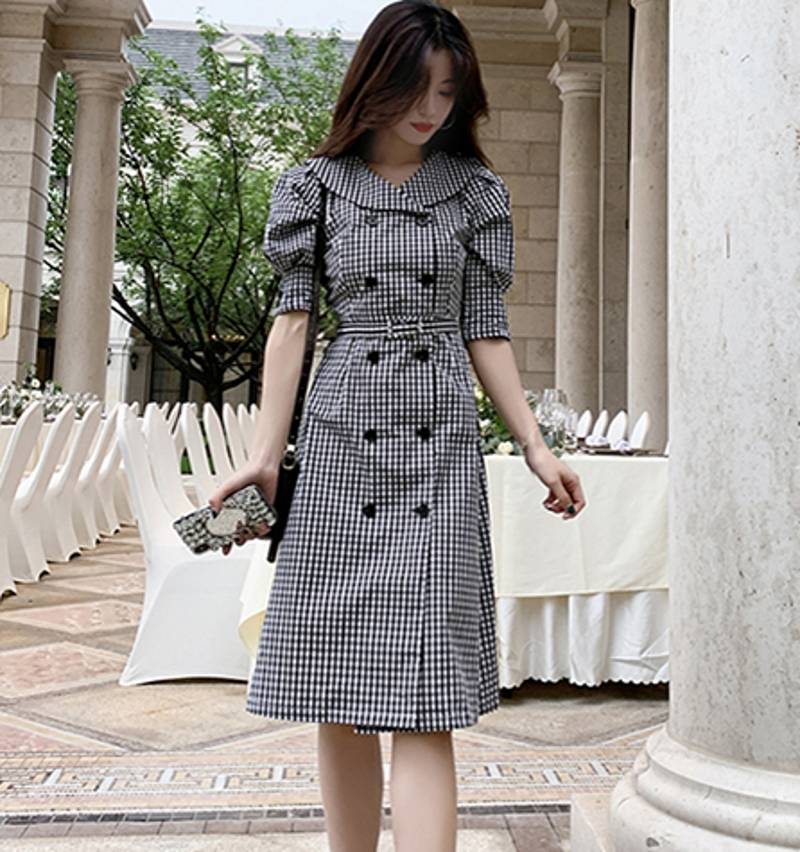 19 autumn Korean Double Breasted Plaid Dresses Women Gray Ruffles Bodycon OL Dress Fashion Half Sleeve dresses 3