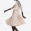 Women Fashion Half Sleeve Dress Lace Mid-Calf Femme Dress Vestidos Robe Solid O Neck Pleated Dress