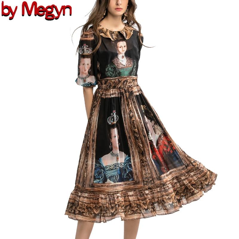spring summer high fashion dress runway party women dress queen print women fashion new year dress designer brand dress 1