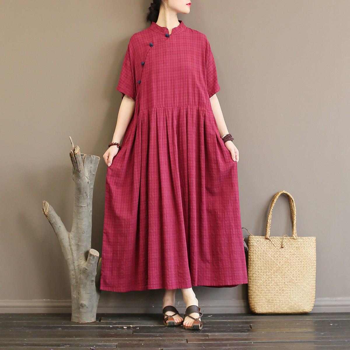 Women National Vintage Style Long Dresses Stand Collar Plate Buckle Summer High Waist Half Sleeve Loose Dresses