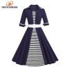 Autumn 4XL Plus Size 3XL Stripe Print Half Sleeves Lapel Vintage Dress 50's Audrey Retro Dresses Pattern Work Party Vestidos
