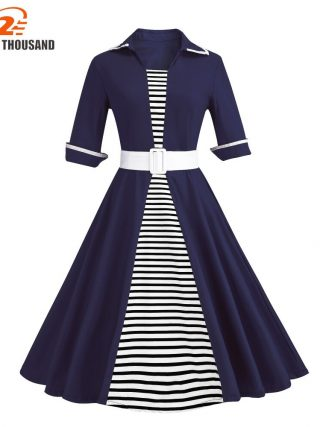 Autumn 4XL Plus Size 3XL Stripe Print Half Sleeves Lapel Vintage Dress 50's Audrey Retro Dresses Pattern Work Party Vestidos