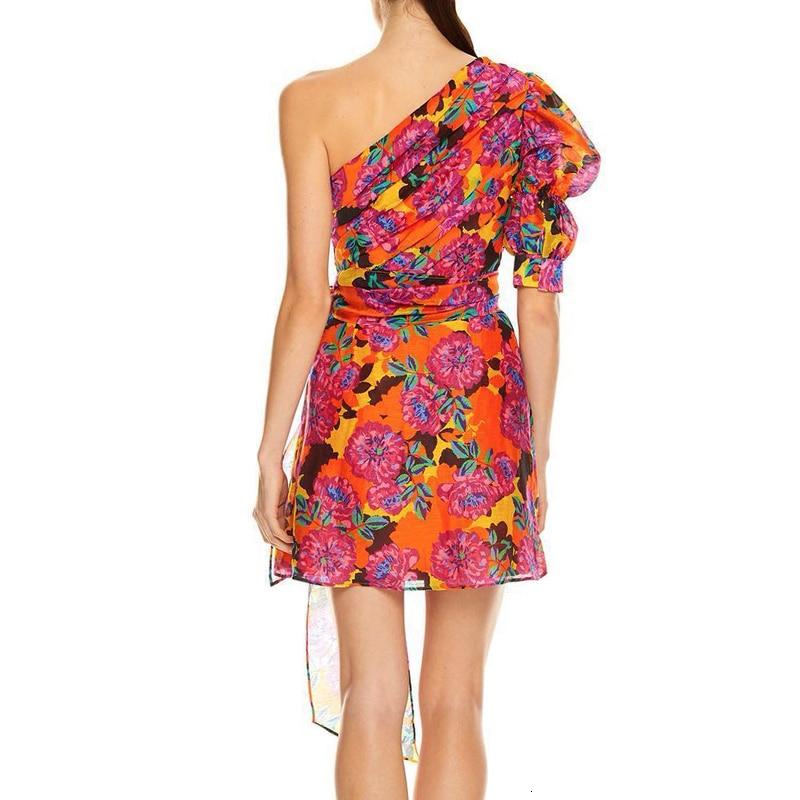 KAMIYING Sexy Print Puff Sleeve Dresses For Female Asymmetrical Collar Half Sleeve High Waist Lace Up mini Dress Women 3