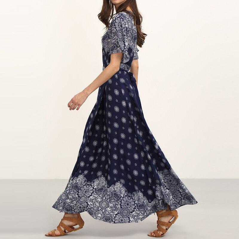 HEE GRAND Ladies Summer Long Dresses with Sashes Womens Vintage Multicolor Print V Neck Half Sleeve Split Maxi Dress WQL5625 1