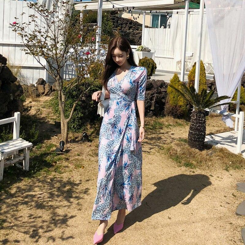 19 Summer Beach Long Dress Pineapple Print Women Boho V-neck Half Sleeve Dress Sexy Bandage Long Dresses 2