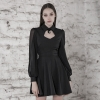 PUNK RAVE Women College Cut-out Sexy Dress Comfortable Chiffon Slim Fit High Waist Long Sleeve Half Dress