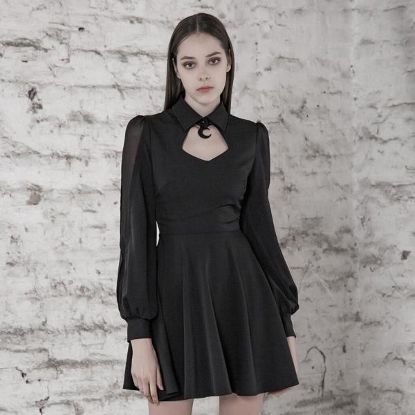 PUNK RAVE Women College Cut-out Sexy Dress Comfortable Chiffon Slim Fit High Waist Long Sleeve Half Dress