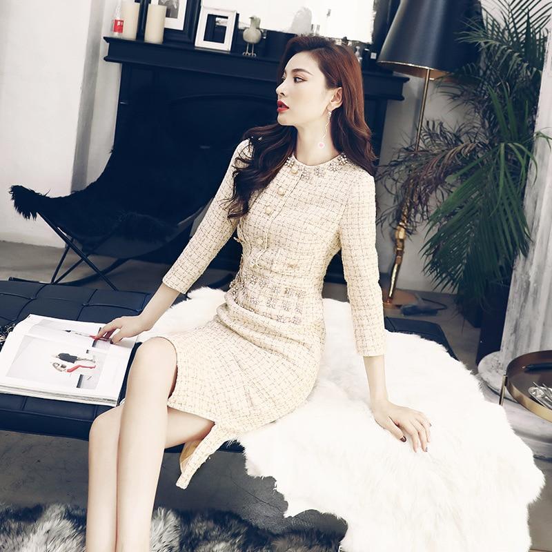 Women Beadings Split Sexy Bodycon Tweed Wool Dress O Neck Casual Work Office Half Sleeve Party Midi Dress Vestido 8404 2