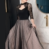 19 Spring Summer Original Design of Intellect and Elegant Dot Patchwork Lace Hollow Mesh Heavy Half Sleeve Woman Maxi Dress