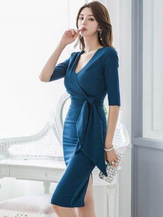Large Size Blue Basic Fall Clothes for Ladies Half Sleeve Sheath Wrap Bandage Dress Women Solid Split Dinner Dresses for Women