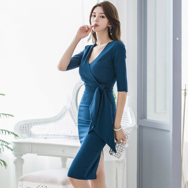 Large Size Blue Basic Fall Clothes for Ladies Half Sleeve Sheath Wrap Bandage Dress Women Solid Split Dinner Dresses for Women