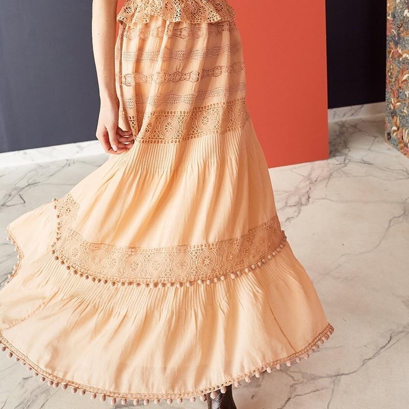 GALCAUR Summer Hair balls Lace Patchwork Dress For Women O Neck Half Sleeve High Waist Midi Dresses Female Fashion 19 Elegant 3