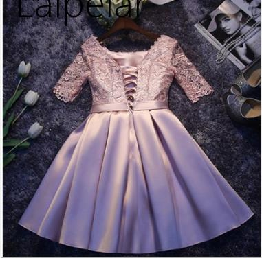 Laipelar New  Elegant Satin Party Dresses Half Sleeves Formal Night Party Dress Burgundy Robe For Formal Wear 3