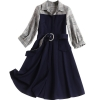 New Fashion 19 Spring Autumn Office Lady Black Patchwork Plaid Dress Turn-down Collar Half Sleeve Elegant Women's A-line Dress