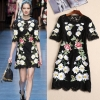 Women 19 Runway Floral Embroidered A-Line Lace Half Sleeve Dress Hot Dresses Slim Fit Girsl Black A798