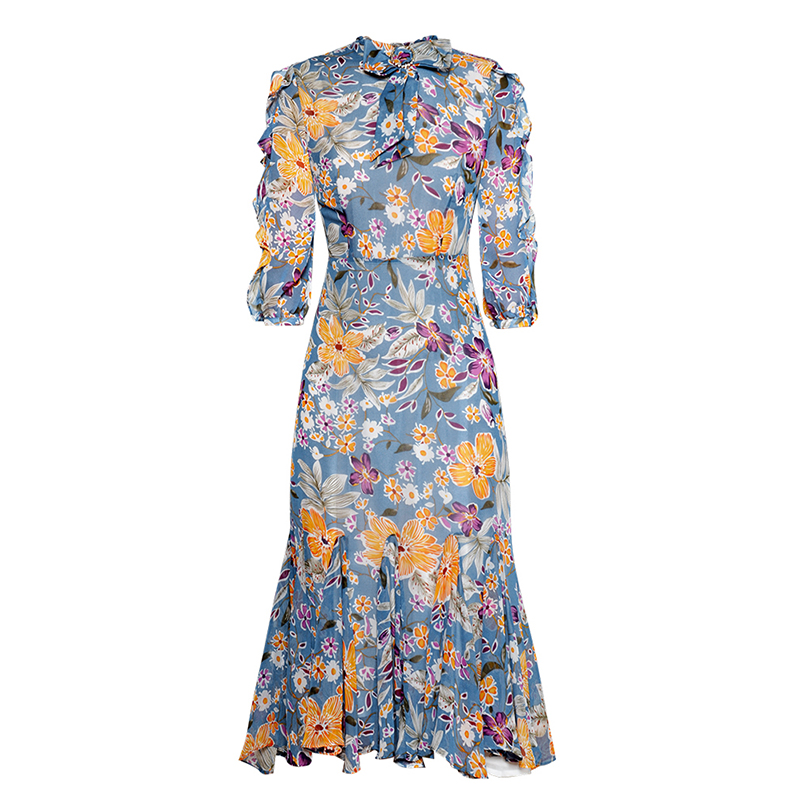HIGH QUALITY Newest Fashion Runway 19 Designer Dress Women's Half Sleeve Charming Floral Print Mermaid Dress 2