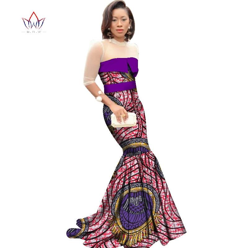 African Dresses for Women Dashiki African Print Clothing Half Sleeve Mermaid Dress Maxi Dress BRW Plus Size 6XL WY2318 1