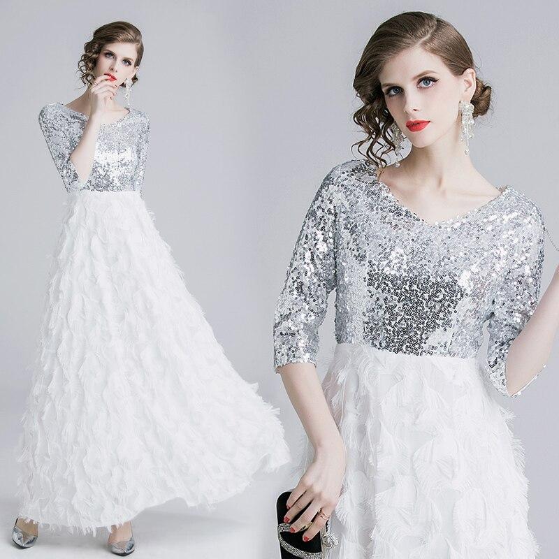 Summer Half Sleeve V-neck Patchwork Tassels Feather Long Dress Elegant Sliver Sequin Women Evening Party Dress Ladies Vestidos 2