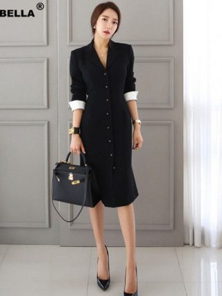 Autumn New Arrival Women OL style A-line knee-length Casual half sleeve slim vestidos office lady black professional dress