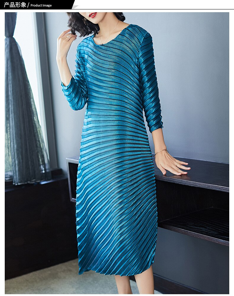 HOT SELLING Miyake fashion solid fold o-neck half sleeve Asymmetrical dresses IN STOCK 1