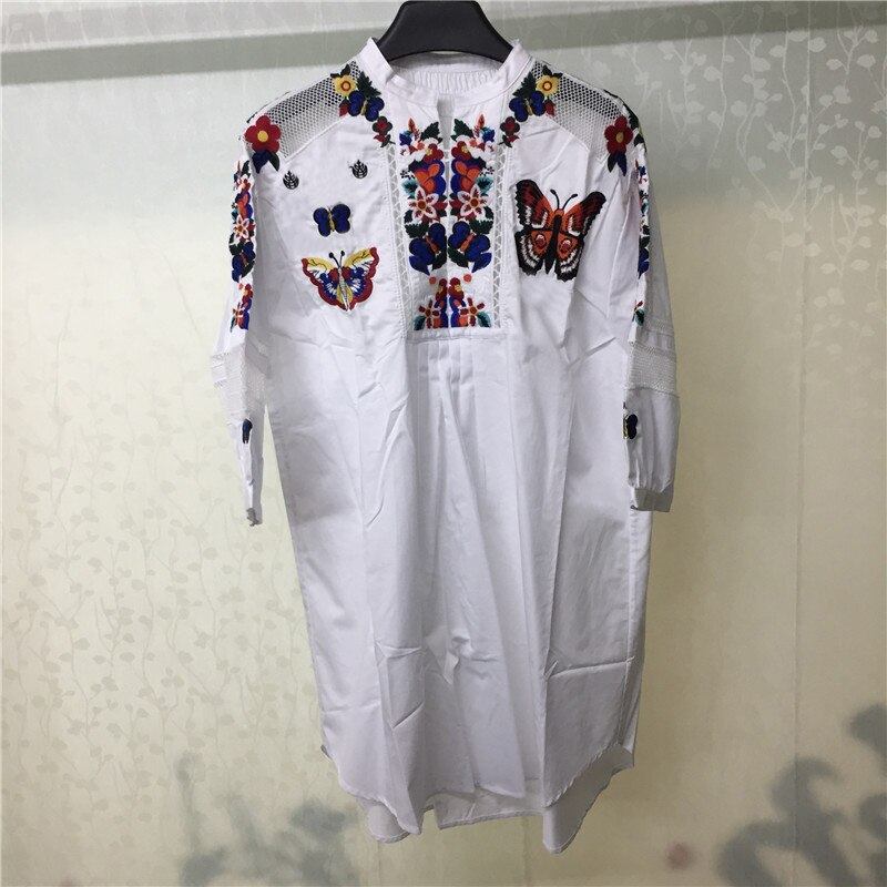 Women's Dresses 18 Half Sleeve Embroidery Dress Casual Loose White Blouse Dress Women 1