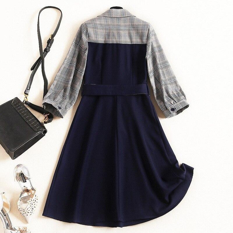 New Fashion 19 Spring Autumn Office Lady Black Patchwork Plaid Dress Turn-down Collar Half Sleeve Elegant Women's A-line Dress 2