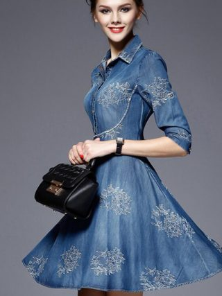 Autumn Vestidos Elegant Slim Half Sleeve Vintage Embroidery Denim Dresses 5XL Plus Size Women