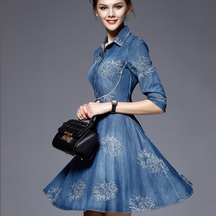 Autumn Vestidos Elegant Slim Half Sleeve Vintage Embroidery Denim Dresses 5XL Plus Size Women