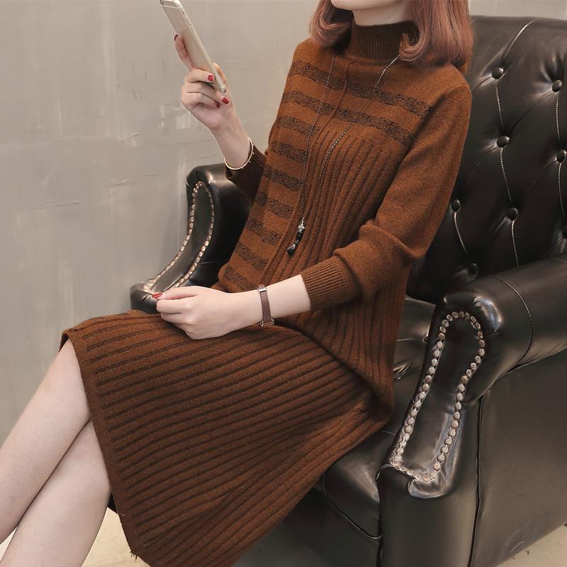 19 Women Autumn Winter Half Turtleneck Pullover Knitted Sweater Dress Female Elegant Loose Long Sleeve Striped Pull Knit Dress 3