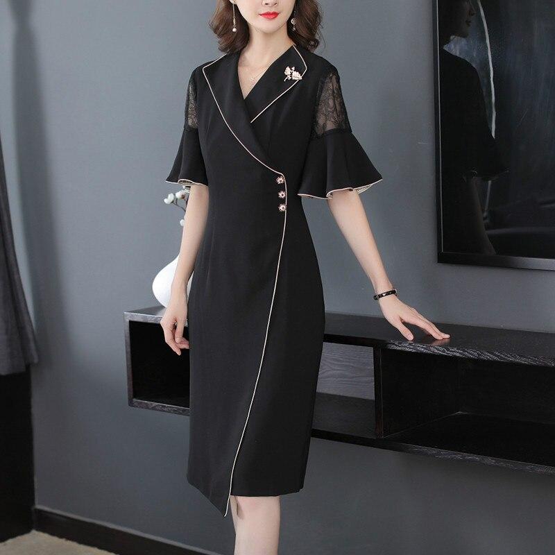 Fall Summer Elegant Women Suit 17 Ruffle Half Sleeve Lace Patchwork Black Dress , Office Lady Female Slim Xxl Button Dresses 2