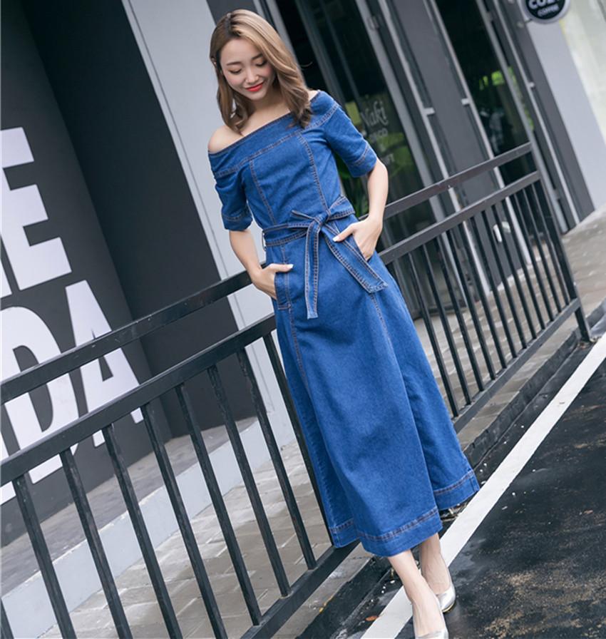 HAMALIEL Women Slash Neck Big Swing Cowboy Dress Summer Off Shoulder Denim Half Sleeve Long Dress Fashion Lace UP Maxi Vestidos 2