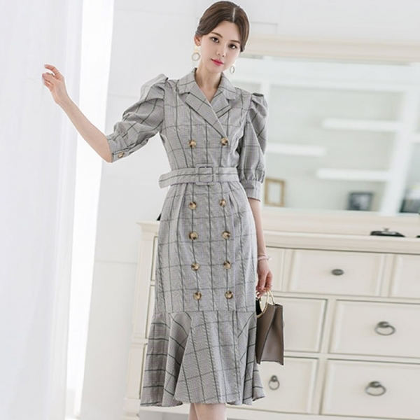 Summer Half Sleeve Vintage Knee-Length Cloth Double Breasted Sashes Notched Bodycon Plaid Fishtail Work Dress