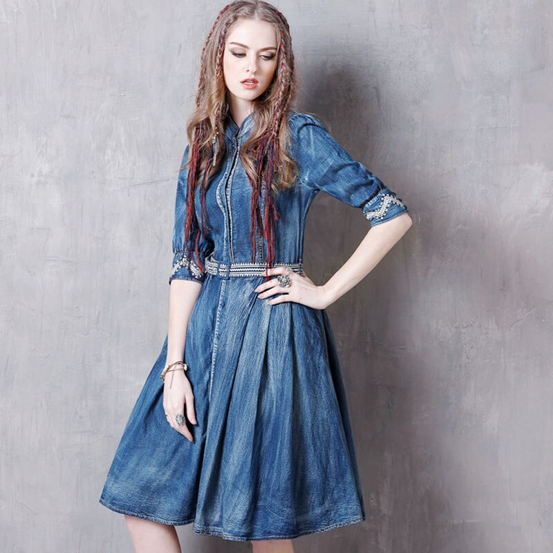 Summer Casual Vintage Women Designer Embroidery Sash Pleated Half Sleeve Denim Dress , 19 Woman Mandarin Collar Jeans Dresses 1