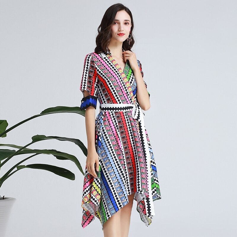 SEQINYY Fashion Dress 19 Summer New Fashion Design Half Sleeve Colorful Flowers Plaid Printed Midi Dress Women 3