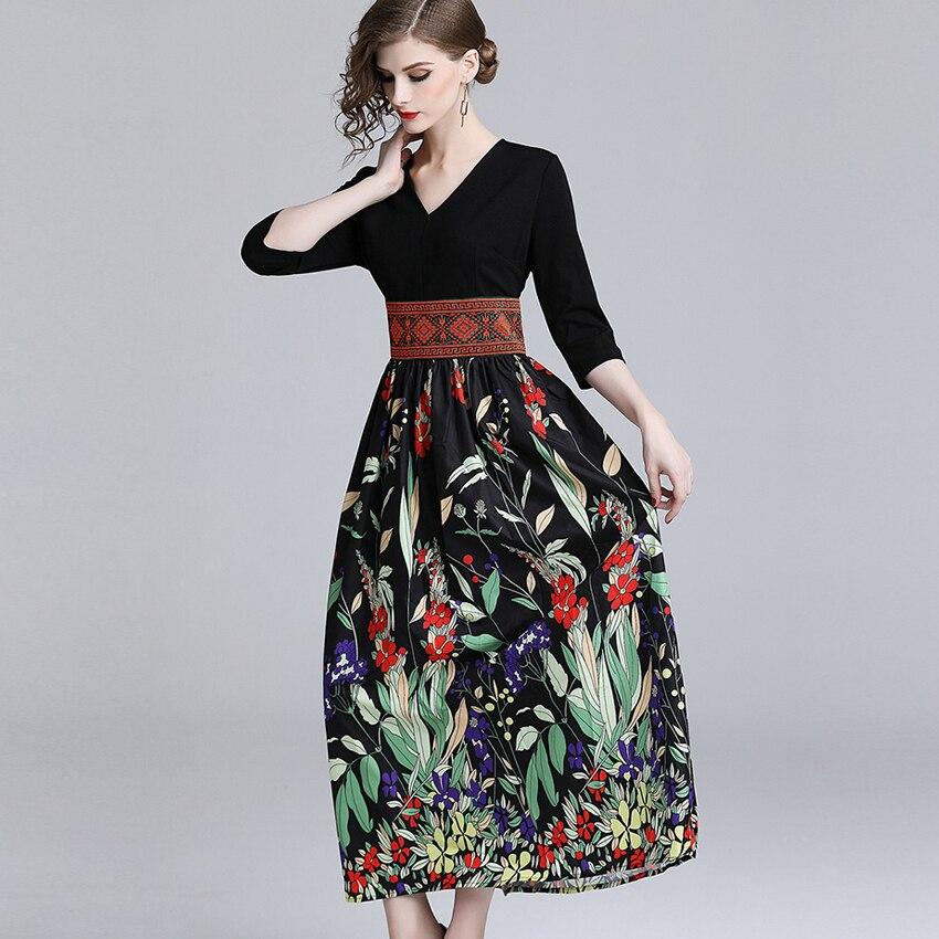 Summer Casual Half Sleeve Slim A-line Dress 19 Vintage Patchwork print Maxi Dresses Boho V Neck long Dress vestidos de fiesta