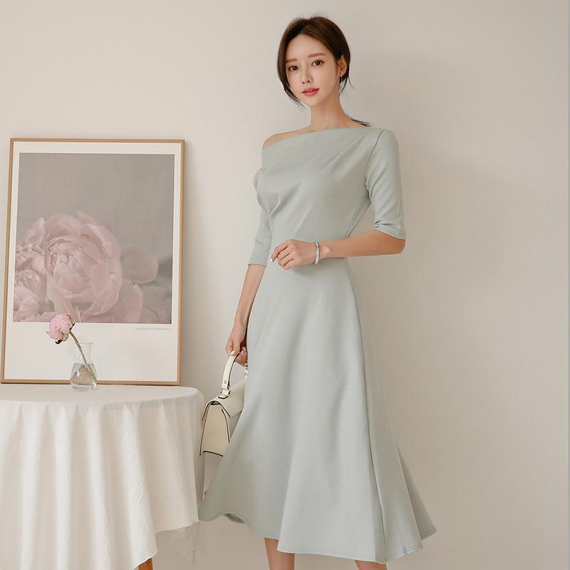 Big Swing Off-Shoulder Autumn Ruched Dress Women Slash Neck Half Sleeve Brief Ladies Dresses Plus Size Robe Longue Femme Ete 2