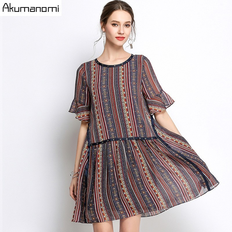 Summer Striped Chiffon Dress Women Clothing Beading O-neck Flare Half Sleeve Dress High Quality Plus Size 5XL 4XL 3XL 2XL XL L M 1