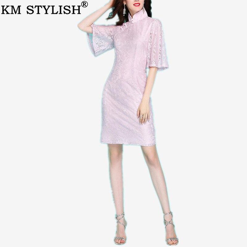Early Spring New Vintage Elegant Women's Pink Soft Lace Slim Flare Half Sleeve Lady Cheongsam Chinese Style Sheath Dress