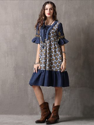 Vintage Patchwork Summer Dress 18 Boho Denim Vestidos Floral Print A line Half sleeve Swing Hem Layered Women Dresses 892