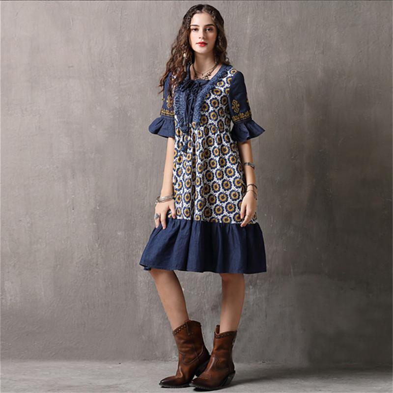 Vintage Patchwork Summer Dress 18 Boho Denim Vestidos Floral Print A line Half sleeve Swing Hem Layered Women Dresses 892
