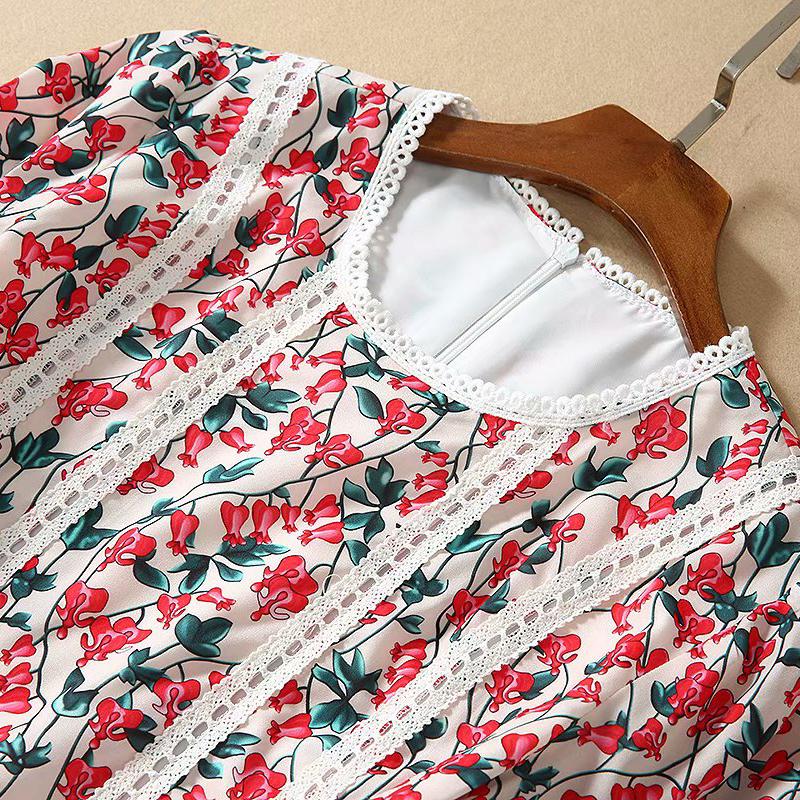 VERDEJULIAY Autumn Fashion Runway Flower Printed Dress Women's Half Flare Sleeve Designer Elegant Long Holiday Party Dress 3