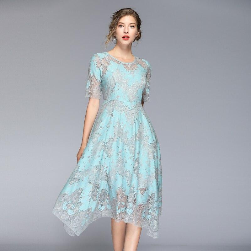 HAMALIEL High Quality Summer Women Lace Dress Vintage Runway Hit Color Half Sleeve Dress Fashion Print Hollow Out Midi Vestidos 1