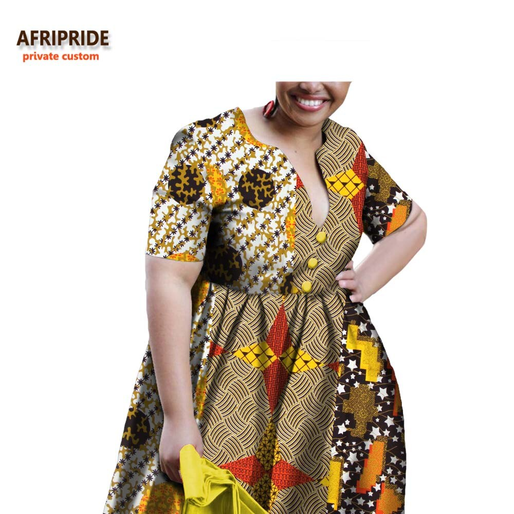 19 african A-line autumn dress for women AFRIPRIDE half sleeve V-neck knee-length casual women cotton dress with sashesA722598 3