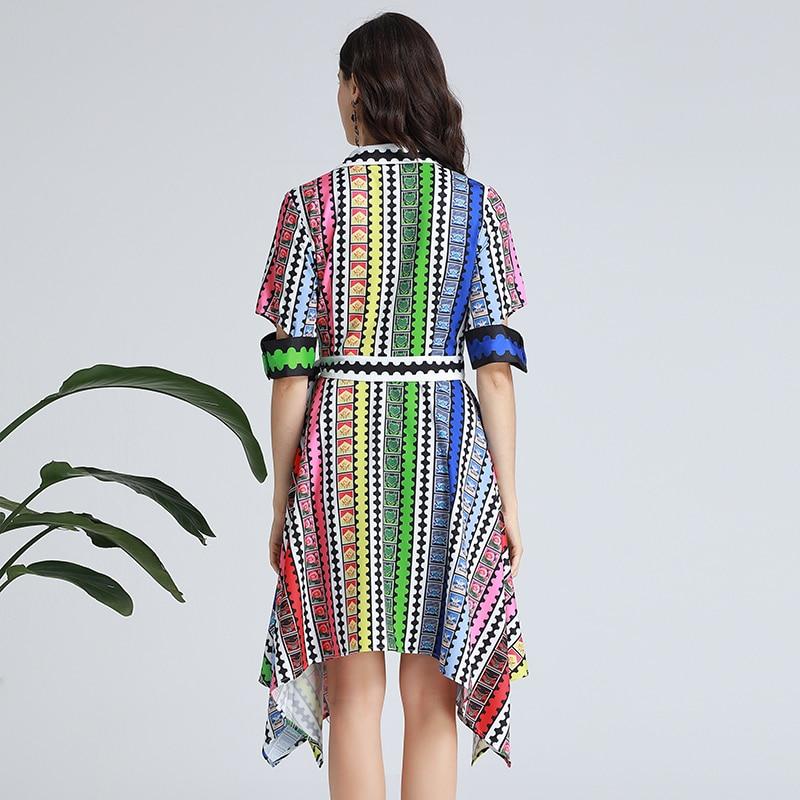 SEQINYY Fashion Dress 19 Summer New Fashion Design Half Sleeve Colorful Flowers Plaid Printed Midi Dress Women 2