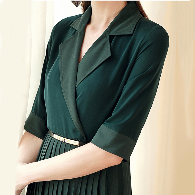 TVVOVVIN 19 Autumn Winter Woman Temperament Solid Green Color Notched Half Sleeve Adjustable Waist Long Pleated Dress M94 3